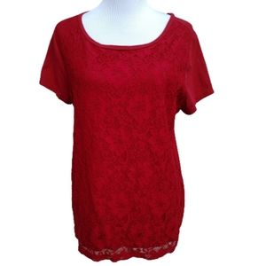 LOFT| Tee Red Lace Front Blouse Shirt